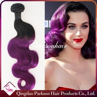 Brazilian Ombre Human Hair Extensions Body Wave Color 1b Burgundy Red Virgin Hair Weave