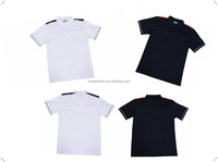 Newest Fashion desgin Dry fit material mens white and black color golf shirts with side panel made in China