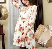 Z76146A 2015 European organza big size Floral printing maternity dress