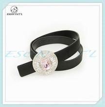 2015 New Designed Fashion Women Stylish PU Belt, Big Crystal Buckle Belt