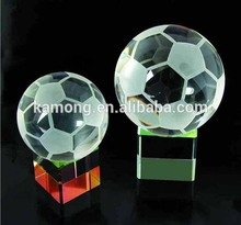 Factory Customized Crystal Football for Souvenirs/Crystal Glass Christmas Ornament