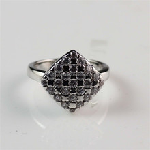 Designer Zircon Diamond Inlay Silver Plated Lucky Stone Finger Ring