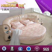 made in china 250*315 Latest bed room furniture, round bed, leather double bed