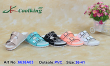 Coolking PVC Slippers 2015 New style fashion design Classic Shoe Manufacturer china Flat shoes for women 2015