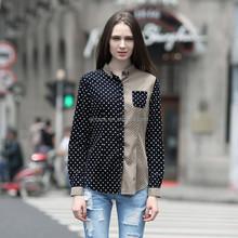 HJC-Q8287 Veri Gude Wholesale 2015 spring latest blouse fashion polka dot long sleeve women's tops and shirts