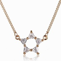 Good Quality Lady Fashion Gold Plated Sweet Zircon North Star Pendant Necklace, Star jewelry