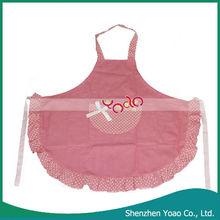 Stylish Spots Pattern Lace Cooking Apron Pink