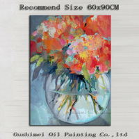 Factory Wholesale High Quality Abstract Handmade Flower In Vase Oil Paintings Hand-painted Water Vat Flower Oil Painting