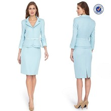 Long sleeve mid length jackets ribbon tie belted waist pencil skirt pictures of business suit for women