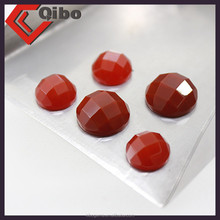 8mm bright red natural flat round shape flat base red agate