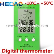 DC106 LCD display Green portable low price clock thermometer