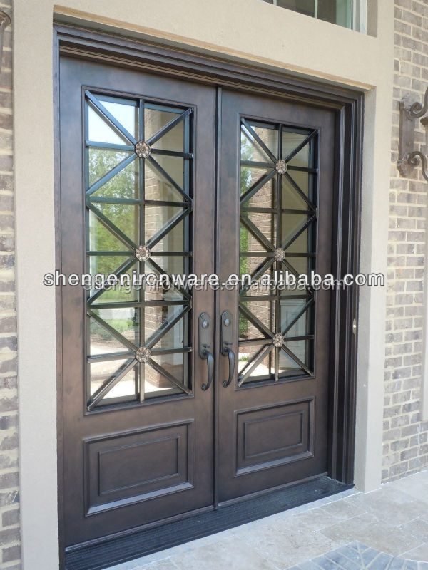 Custom wrought iron entrance doors double doors buy iron for Wrought iron front doors