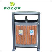 Steel wood outdoor garbage bin factory sell