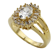 24K gold gorgeous diamond floral cluster designed ring