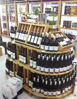 wooden wine display rack shelf stand with light