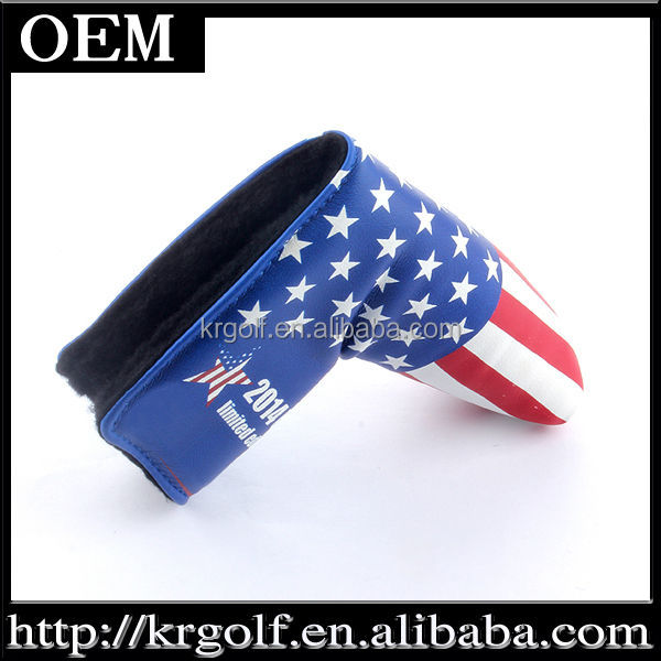 Wholesale Embroiedered USA Flag Design Synthetic Leather Easy Load Golf Putter Club Head Cover Case Golf Putter Headcover