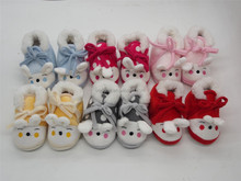 cute soft fleece baby shoes with embroidery mult-color rabbit