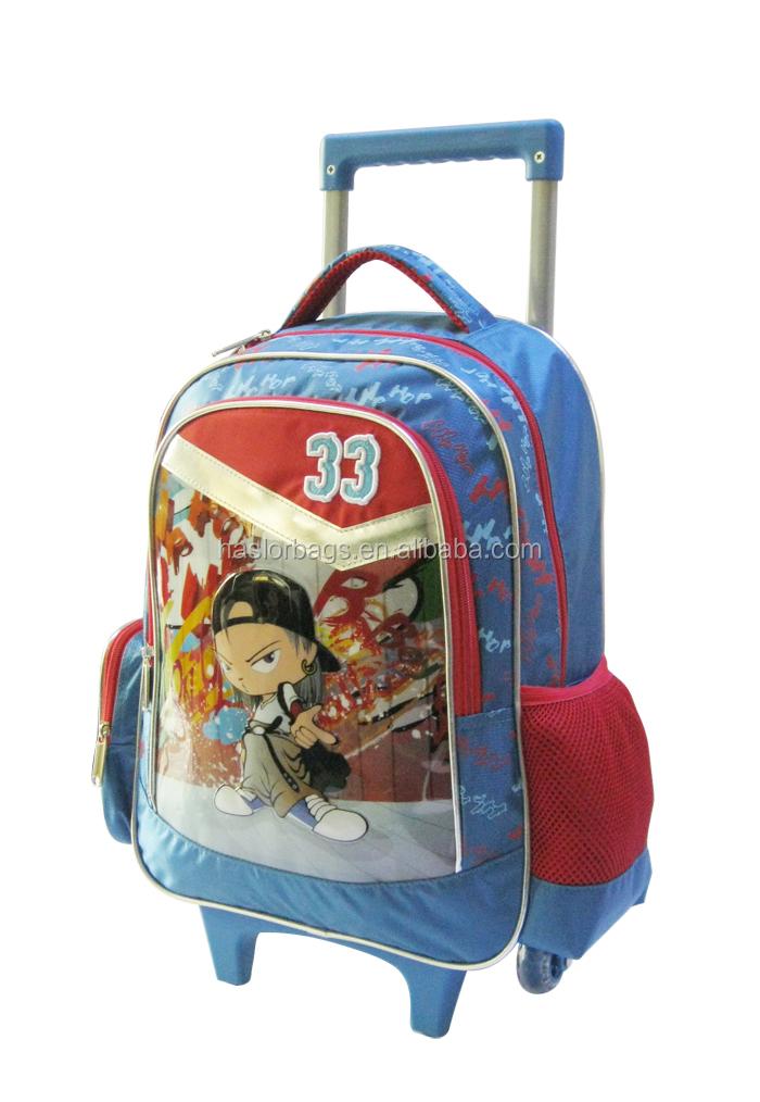 2015 sac d'école primaire pour les enfants avec roues lumineux pour fille