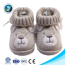 Wholesale cute bear toy warm new born crochet knitted baby shoe