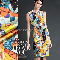 colourful Mosaicl Digital Printed elasti silk satin fabric