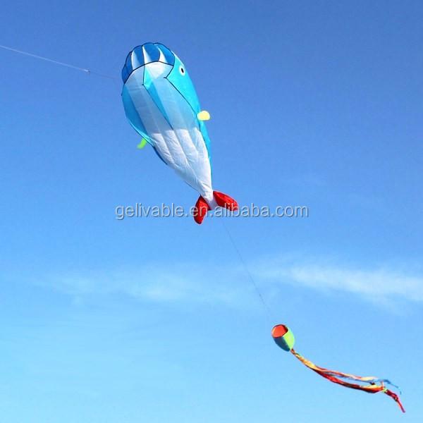 Single line easy flying no frame dolphin soft kite shipping free (5).jpg