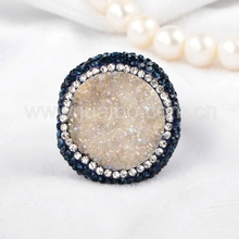 Silver plated opal white rough druzy stone ring with white and blue zircon paved edge