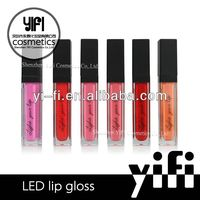 Hot Sale! LED lip gloss with light and mirror herbal color lip gloss