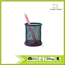 Promational Round Metal Mesh Pen Holder With Wood Foundation
