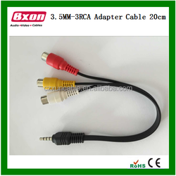 Mini 3.5mm AV Male to 3RCA Female M/F Audio Video Cable Stereo Jack Adapter Cord
