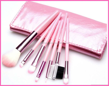Women's Pink 7Pcs Make Up Tools Pincel Maquiagem Professional Superior Soft Cosmetic Makeup Brush Set Kit + Pouch Bag Case