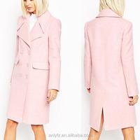 2015 Anly wholesale latest fashion design women plain pink overcoat formal wear overcoat