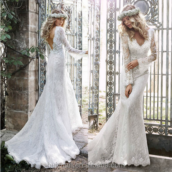 Charming low back cut long sleeve lace grecian style for Low cut back wedding dress