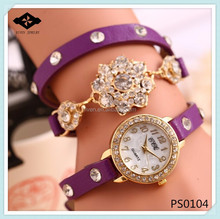 PS0104 High Quality Gold Flower ladies wrap around watch