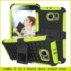 2015 latest combo 2 in 1 heavy duty stand case for samsung galaxy s6 , for samsung galaxy s6 hard case