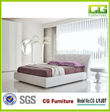2015 Contracted and fashion furniture white pu bed double leather bed