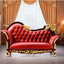 Danxueya- high quality red leather chaise lounge chair/ elegant european style chaise lounge/golden french chaise lounge