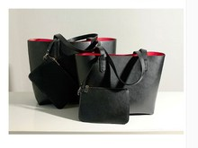 Customized simple fashion double layer leather tote bag