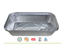 Rectangle food boxes disposable green product aluminum foil takeaway trays