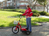 electric scooter personal transportation with front suspension fork and rear suspension fork, ES-064