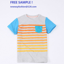 2015 top fashion short sleeve with 100% cotton striped kids t shirt