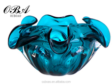 Beautiful handblown blue color glass craft & flower shaped art glass vase for decoration & modern decorative furnishing articles