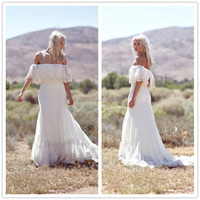 New Design A-line Lace Applique Cap Sleeve Multi Layered Chapel Train Beach Off The Shoulder Lace Ivory Wedding Dresses WD049