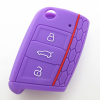 Hot Sale 3 button Silicone car key cover for vw golf 7 key vw key case