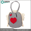 Sweet heart cotton canvas tote bag for young girls