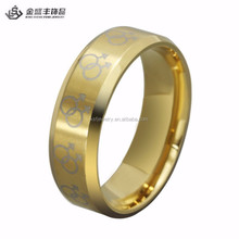 Gold Male Symbols Gay Pride Steel Ring Male Gay Pride Ring band for Gay Men