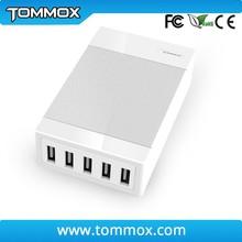 Portable 5 port USB charging station ,tommox 5 port desktop charging station with Storage base,multiple port smartphone case