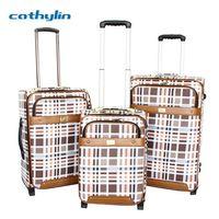 Trolley PU leather luggage case travel luggage bag set