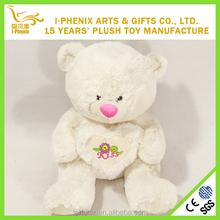 Custom Stuffed plush teddy bear with heart logo printed