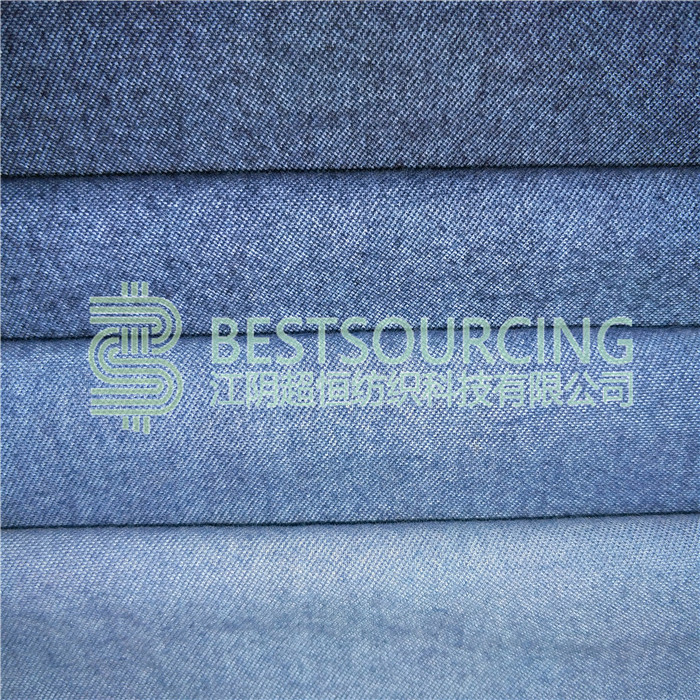french terry indigo knitted denim fabric