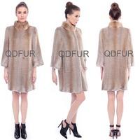 QD80140 Genuine Muskrat Fur Coat For Winter Fashion Lady Woman Wear Long Fur Coat